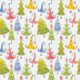 Pattern with Christmas trees Stock Images