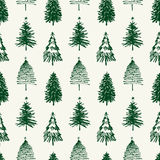 Pattern of christmas trees. Vector pattern of the various hand drawn christmas trees Stock Images