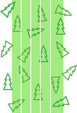 Pattern with christmas trees and white strips Stock Images