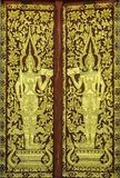 Pattern of church door in temple Thailand. Royalty Free Stock Photo