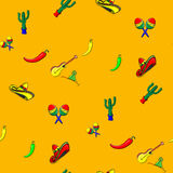 Pattern for cinco de mayo with a sombrero, maracas, jalapeno, margarita, guitar and cactus Stock Photography