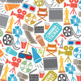 Pattern with cinema icons Royalty Free Stock Photo