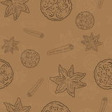 Pattern with Cinnamon and lemon Royalty Free Stock Photo