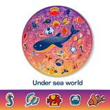 A pattern in the circle with fish and text. Bright circular pattern and clipart with place for text. Shells, fish, deep-sea animals of the sea and the ocean A Royalty Free Stock Images
