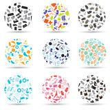 Pattern circle set of various icons eps10 Royalty Free Stock Photography