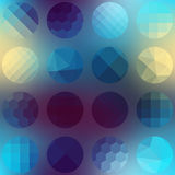 Pattern circles of different texture on blurred Stock Photography