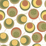 Pattern - circles and dots. Circles and dots colored in green, brown and yellow stock illustration