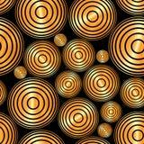 Pattern circles. Seamless pattern of gold circles on black background Royalty Free Stock Photos
