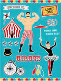 Pattern of the circus. Circus Starr getting showered ,vintage Poster Royalty Free Stock Images