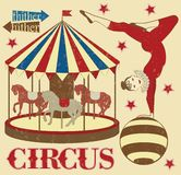 Pattern of the circus. Circus Starr getting showered ,vintage Poster Stock Photo