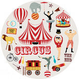 Pattern of the circus. Circus Starr getting showered ,vintage Poster Royalty Free Stock Photography