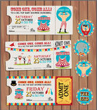 Pattern of the circus. Circus Ticket on tree background Stock Photography