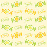 Pattern with citrus candy, sweets and candy inscription. Vector pattern with orange and lemon candies with the inscription of candy Royalty Free Stock Image