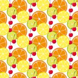 Pattern with citrus fruits and cherry. Mix of lemon lime and orange. Vector Illusrtation royalty free illustration
