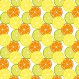 Pattern with citrus fruits Mix of lemon lime and orange. Vector Flat Illustration stock illustration