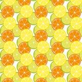 Pattern with citrus fruits Mix of lemon lime and orange. Vector Flat Illustration vector illustration