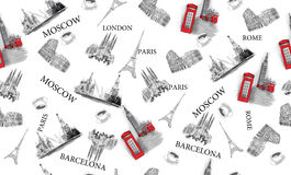 Pattern with city views Royalty Free Stock Photo