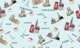 Pattern with city views Royalty Free Stock Image