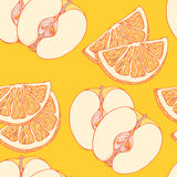 Pattern of close-look of slices of oranges and Stock Photography