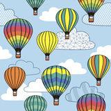 Pattern with clouds and balloons Royalty Free Stock Photography