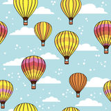 Pattern with clouds and balloons Stock Photo