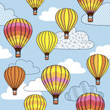 Pattern with clouds and balloons Royalty Free Stock Photo