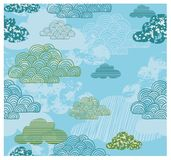 Cloud Kids Theme Pattern stock illustration