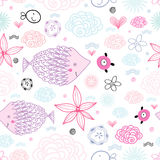 A pattern of clouds and fish. Seamless pattern of clouds and purple fish on a white background Royalty Free Stock Photos