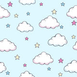 Pattern with clouds. Seamless vector pattern with clouds and stars Royalty Free Stock Photos