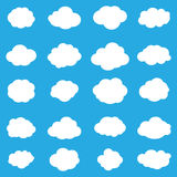 Set cloud icons. Cloud icons set. Cloud icons on blue sky background. Pattern with white clouds. White clouds on blue background. Abstract background. For Art Royalty Free Stock Image