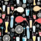 Pattern of cocktails and birds Stock Images