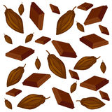 Pattern of cocoa and chocolate. Cocoa beans and pieces of chocolate on white background Stock Images