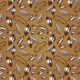 Pattern of cocoa. Seamless pattern of cocoa, cocoa beans, cocoa bean half Stock Image