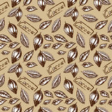 Pattern of cocoa. Seamless pattern of cocoa, cocoa beans, cocoa bean half Royalty Free Stock Photo