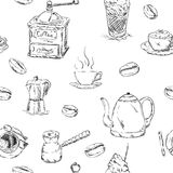 Pattern of cofee set. Vector - pattern of cofee set , hand draw, isolated on background Royalty Free Stock Photography