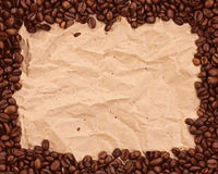 Pattern with coffee. On brown paper Stock Photography