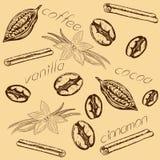 Pattern coffee cocoa vanilla cinnamon Royalty Free Stock Photography