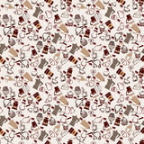 Pattern with coffee, coffee theme and desserts. Stock Photos