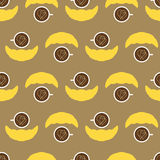 Pattern with coffee cup and croissant Stock Images