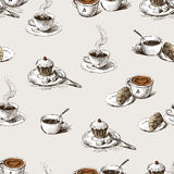 Pattern of the coffee cups Royalty Free Stock Photos