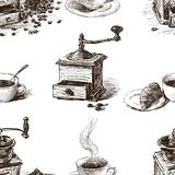 Pattern of the coffee grinders and coffee cups vector illustration