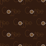 Pattern with coffee lettering with cup Royalty Free Stock Image