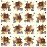 Pattern with coffee. Coffee pattern. Coffee mill, coffee, sugar, cup, croissant on tapestry. Vector illustration Royalty Free Stock Images
