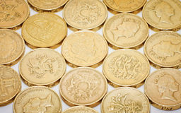 British one pound coins Stock Photos