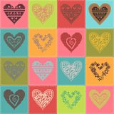 Pattern with collection hearts in vintage patchwork style. Stock Images