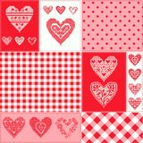 Pattern with collection hearts in vintage patchwork style. Royalty Free Stock Image