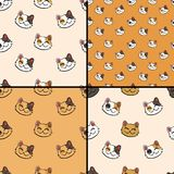 Pattern collection with inky lucky cat stock illustration