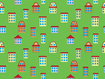Pattern with color buildings. Seamless pattern with color buildings over green Royalty Free Stock Images