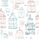 Pattern the with color cages and flowers Royalty Free Stock Images