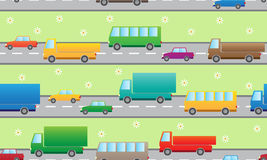 Pattern with color cars. Royalty Free Stock Photography
